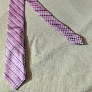 Apt 9 Gray & Pink Mens Plaid Tie